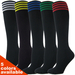 Couver Black Youth 4Stripes Soccer Football Knee High Socks - 3Pair Pack