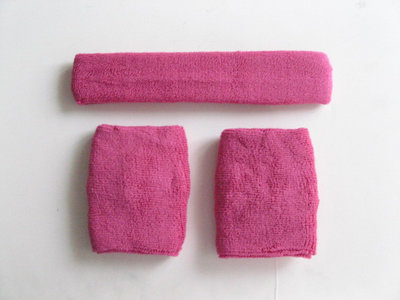 Hot Pink Sweatbands Set (1piece Headband and 1pair Wristbands)