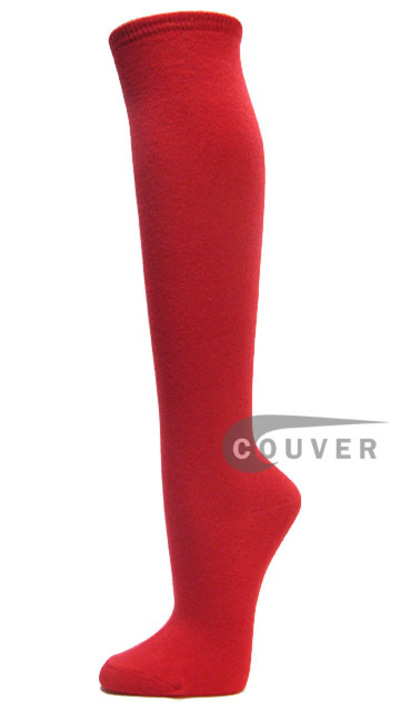 Red Cotton Fashion/Casual Knee High Socks from Couver 6PAIRS