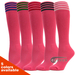 Striped Bright Pink Youth Football/Sports Knee Socks, 3PAIR Pack