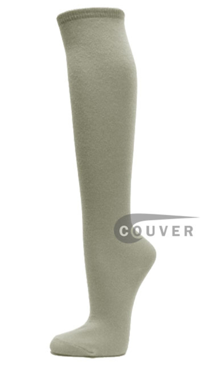 Light Gray Cotton Casual Knee High Socks from Couver 6PAIRS