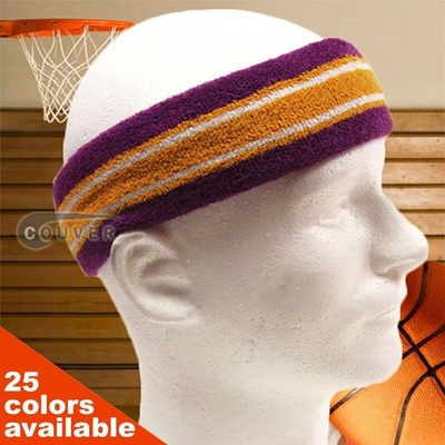 Couver Premium Quality Thick, Wide, Long striped Head Sweatband Pro