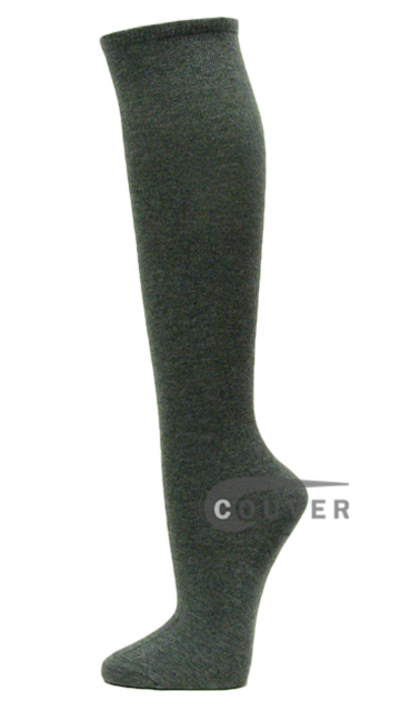 Charcoal Cotton Fashion/Casual Knee High Socks from Couver 6PAIRS