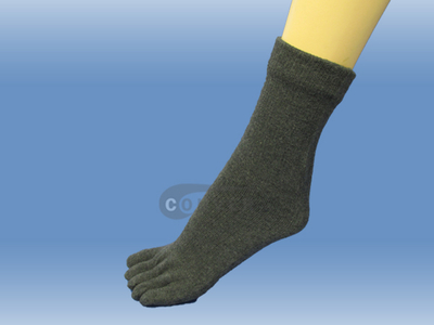 Charcoal Couver 5 Fingers Toed Thick Toe Socks Quarter Wholesale, 6PRS