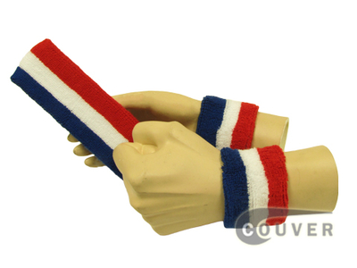 Blue White Red American Flag Color Striped Youth Sweatbands Set[3sets]
