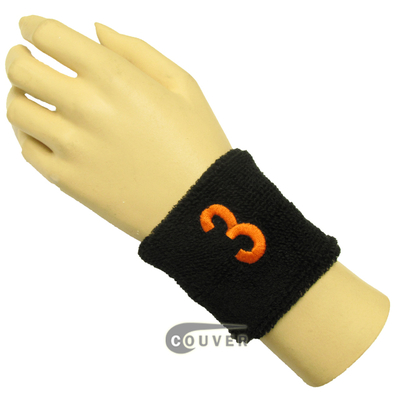 "Black 2 1/2"" wristband with Number embroidered in Orange - 3(Three)"