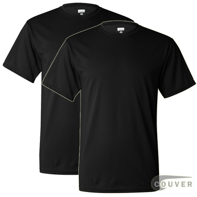 100% Poly Moisture Wicking T-Shirt - 2 Pieces Set(Black)