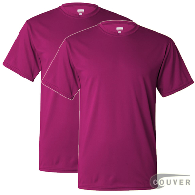 100% Poly Moisture Wicking T-Shirt - 2 Pieces Set(Hot Pink)
