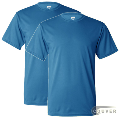 100% Poly Moisture Wicking T-Shirt - 2 Pieces Set(Bright Blue)