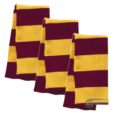 Dark Red/Gold Sportsman Rugby Striped Knit Scarf - 3Pieces Bulk Sale