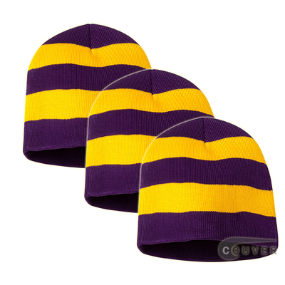 Rugby Striped Knit Beanies Cap(Purple/Gold) - 3 Pieces Bulk Sale