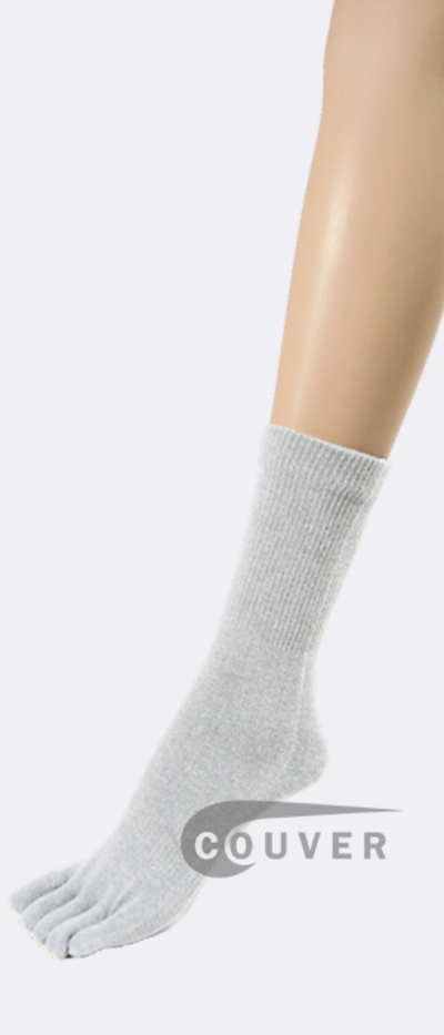 White Couver Five Finger Toes Toe Socks Quarter Wholesale, 6PRS