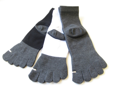 White Bamboo Charcoal Toe Socks over Ankle High [1pair]