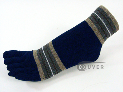 Navy Blue Striped Ankle Toe Socks with Beige & Gray, 3Pairs