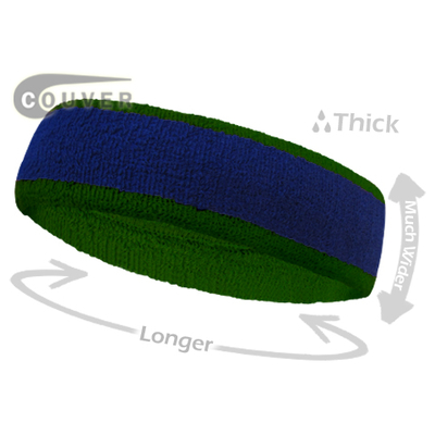 Blue with Green Large  Basketball Head Sweatband 3PIECES