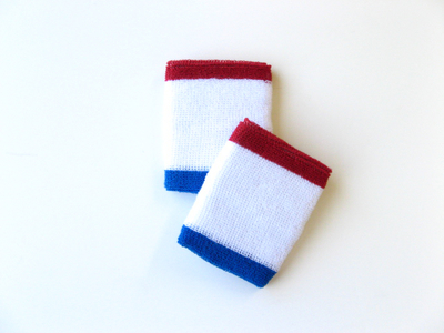 White w/ Red and Blue trimed athletic sweat Wristbands [6 pairs]