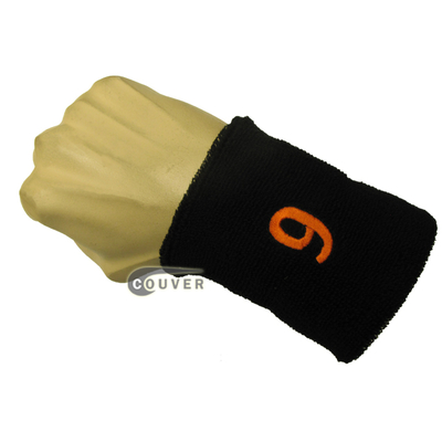 Numbered white sweatband number 9 embroidered in orange [1pc]