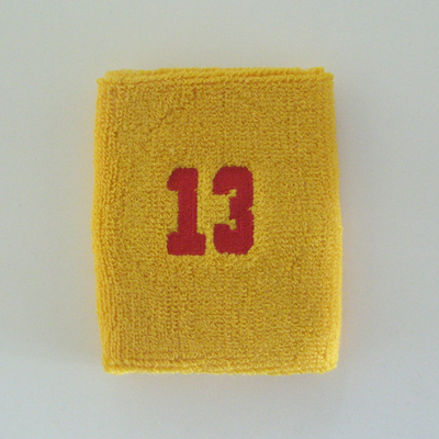 Number 13 thirteen golden/mango yellow sweat wristband