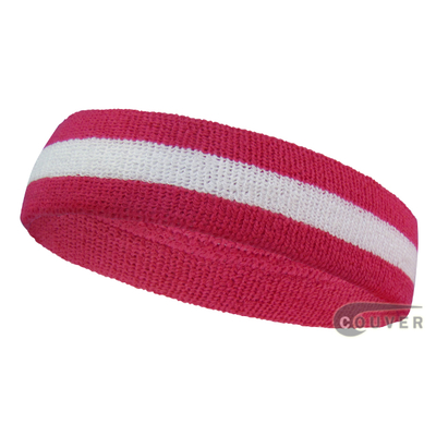 Hot pink white hotpink wholesale headband sweat 2color stripe