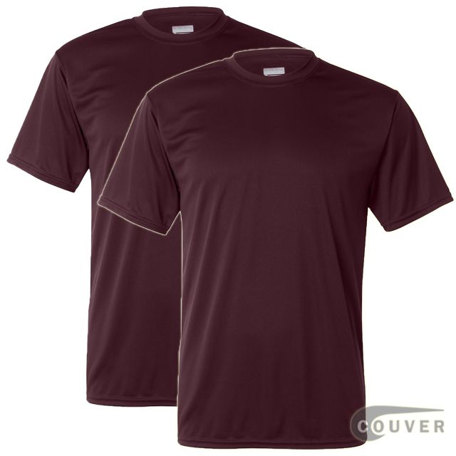 100% Poly Moisture Wicking T-Shirt - 2 Pieces Set(Maroon)