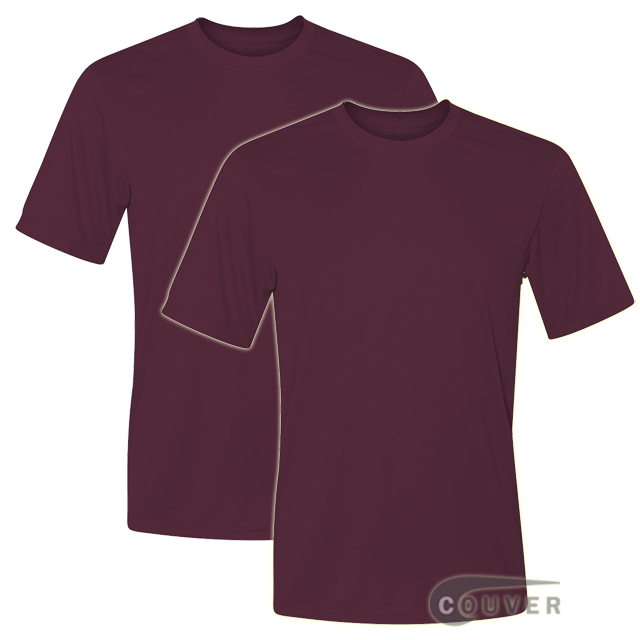Hanes Short Sleeve Cool Dri UPF 50+ Performance Tee Maroon -2Piece Set