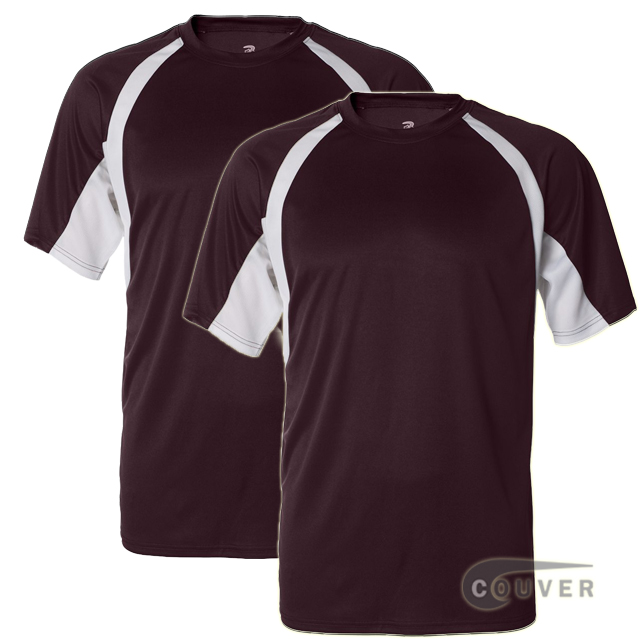 Badger Short Sleeve 2Tone Performance Tees 2Pieces Set - Maroon / White