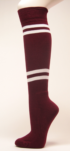 Maroon with 4White Striped Couver Sport Softball Knee Socks 3PRs