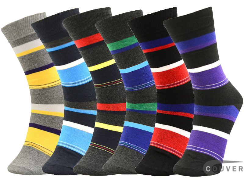 WHOLESALE Men's Multistriped Dress Socks Mixed 6 Pairs Bulk Sale