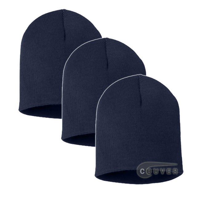 Navy 8inch Acrylic Knit Beanies Cap 3Pieces Bulk Sale