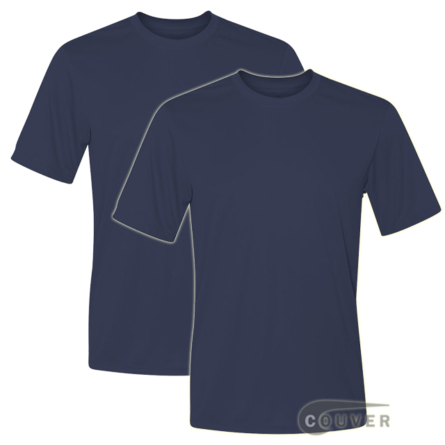 Hanes Short Sleeve Cool Dri UPF 50+ Performance Tee Navy -2Piece Set