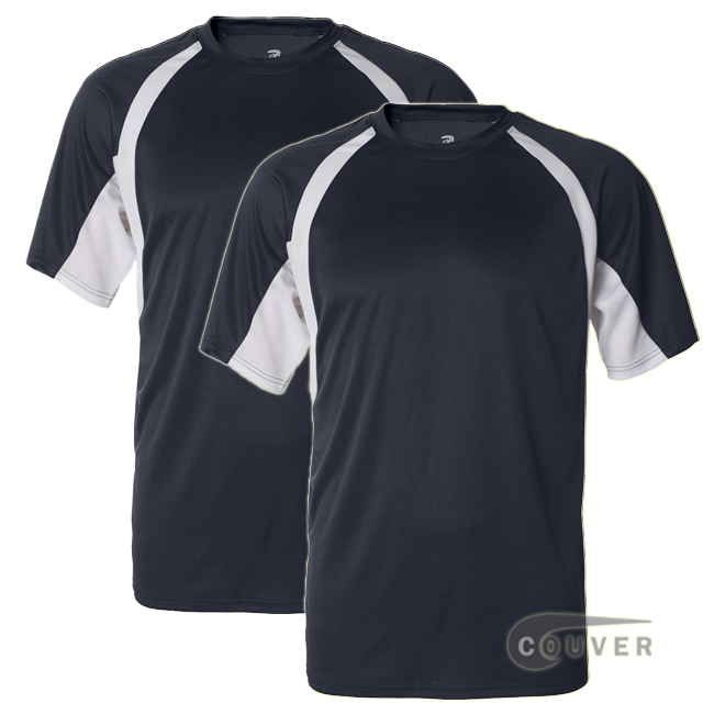 Badger Short Sleeve 2Tone Performance Tees 2Pieces Set - Navy / White