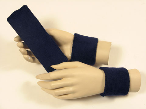 Navy sports headband Navy blue sweat wristbands set [3sets]