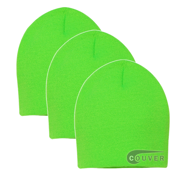 Neon Green 8inch Acrylic Knit Beanies Cap 3Pieces Bulk Sale