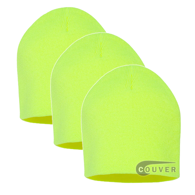 Neon Yellow 8inch Acrylic Knit Beanies Cap 3Pieces Bulk Sale
