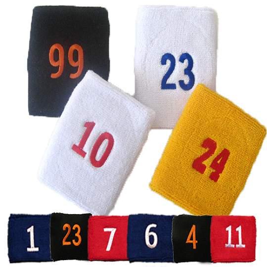 Numbered Wrist Sweatbands