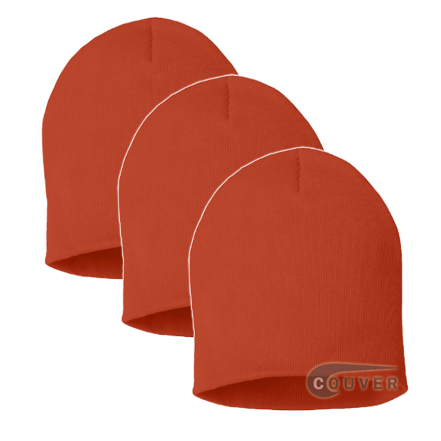 Orange 8inch Acrylic Knit Beanies Cap 3Pieces Bulk Sale