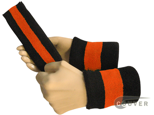 Black dark orange black 2color striped sweatbands set