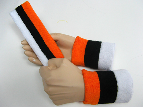 Orange black white 3color striped head wrist sweatbands set