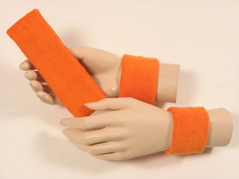 Light orange sports headband Light orange wristbands set [3sets]