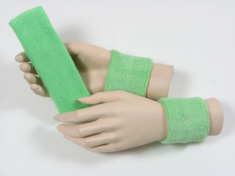 Pale green sports headband Pale green sweat wristbands set 3sets