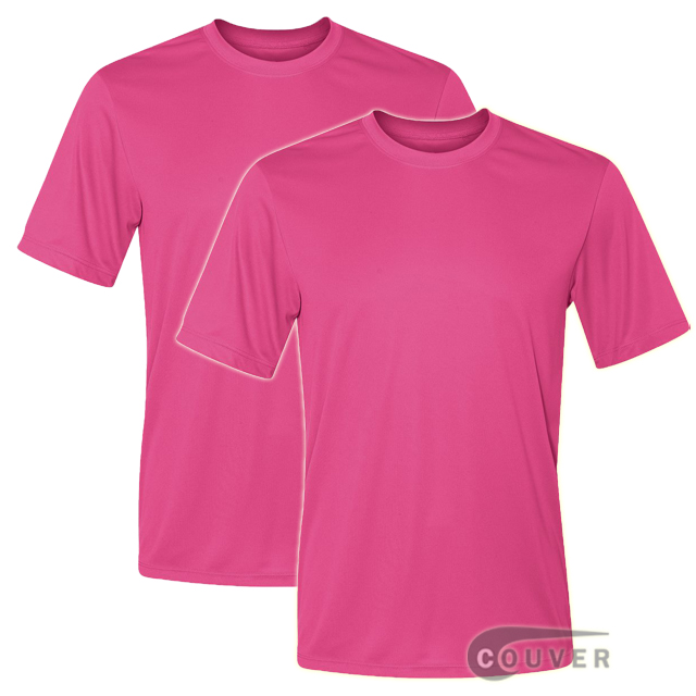 Hanes Short Sleeve Cool Dri UPF 50+ Performance Bright Pink -2Piece Set