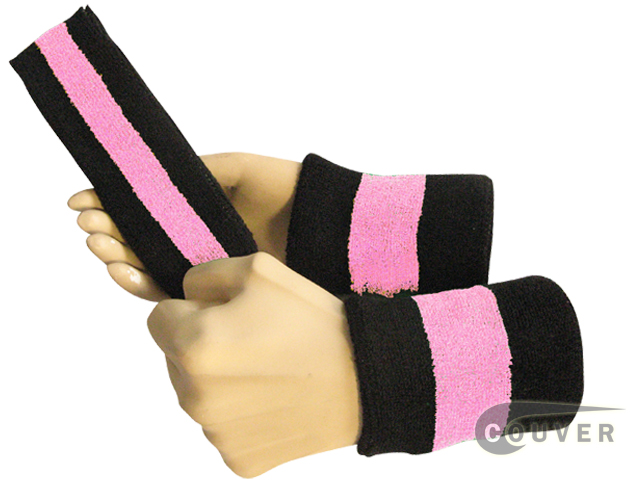 Black light pink black 2color striped sweatbands set
