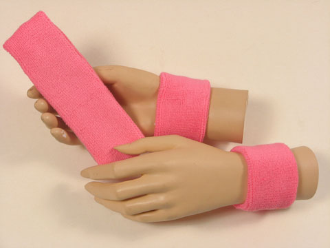 Pink sports headband Pink sweat wristbands set [3sets]