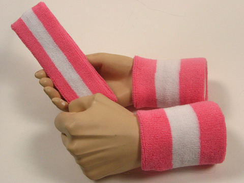 pink white pink 2color striped sweatbands set