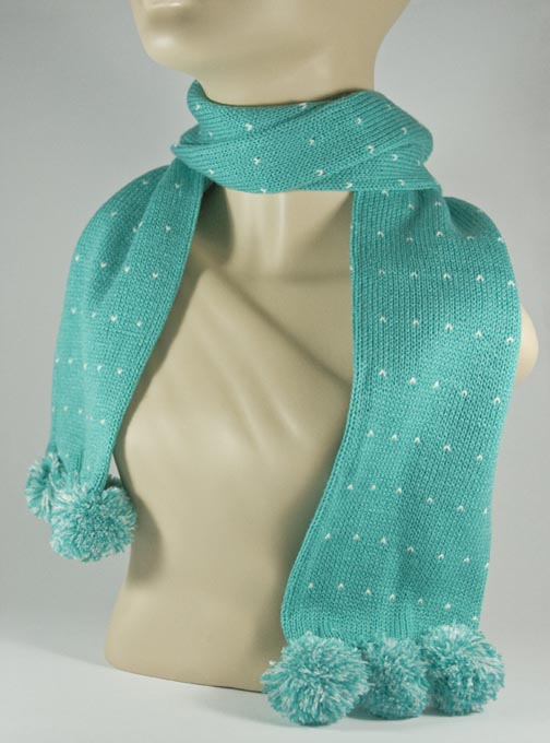 Pom Pom Turquoise Scarf for Girls [1piece]