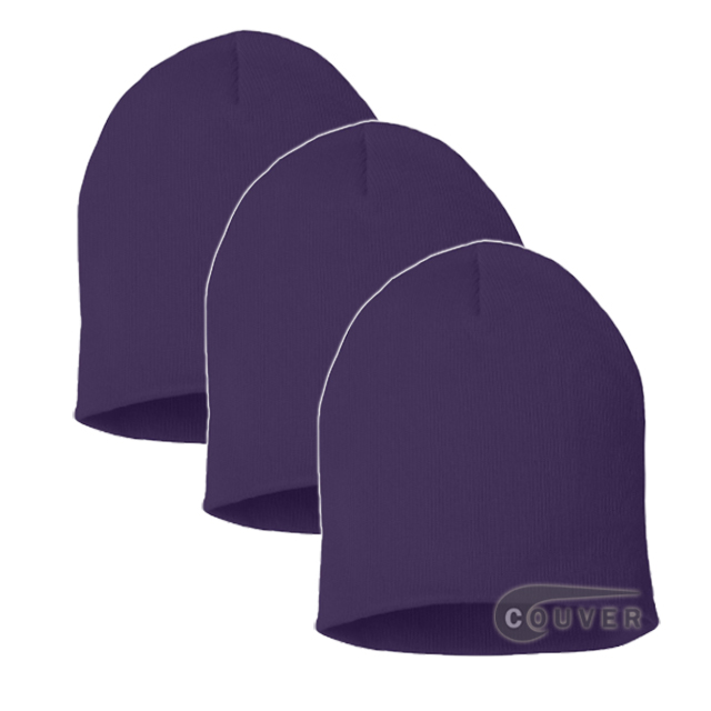 Purple 8inch Acrylic Knit Beanies Cap 3Pieces Bulk Sale