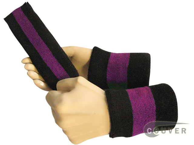 Black purple black 2color striped sweatbands set