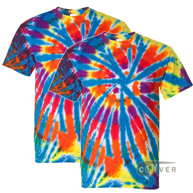 Tie-Dyed Rainbow Cut-Spiral Short Sleeve T-Shirt - 2 Piece Set - Classic