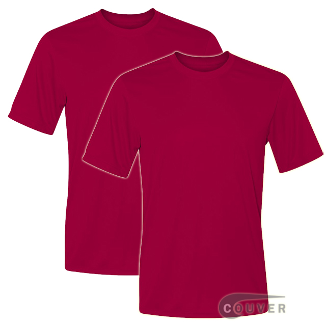 Hanes Short Sleeve Cool Dri UPF 50+ Performance Dark Red -2Piece Set