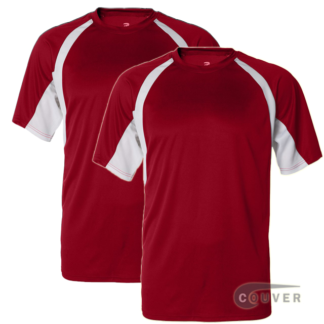 Badger Short Sleeve 2Tone Performance Tees 2Pieces Set - Red / White